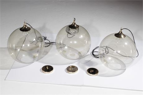 Set of Three NUEVO Glass & Brass Pendant Lights