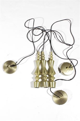 Set of Three CB2 Brass Candlestick Pendant Lights