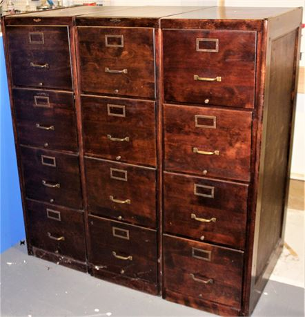 Set of Three Wooden File Cabinets