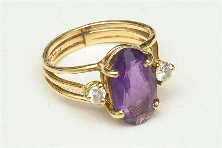14K Lady's Amethyst and Diamond Ring