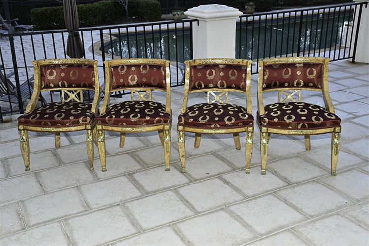 Set of Four (4) Neoclassical Burlwood Barrel Back Chairs